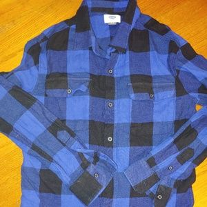 Boys Blue Black Buffalo Plaid Flannel Shirt